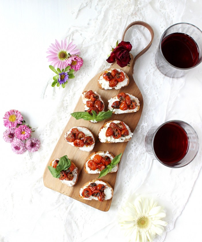Red Wine Cherry Tomato & Goat Cheese Crostini