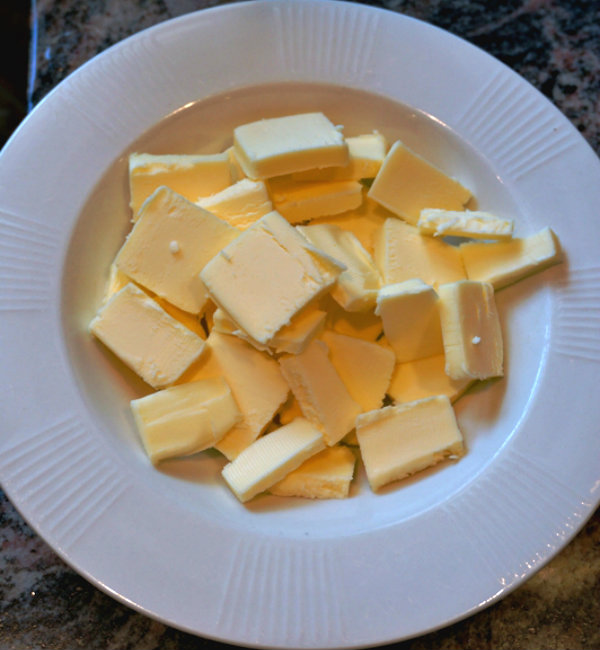 diced salted butter ready to melt
