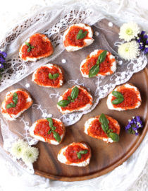 Roasted Red Pepper & Ricotta Crostini