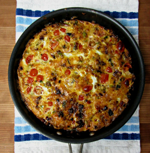 Prosciutto, Smoked Gouda, and Brussels Sprouts Frittata - Overhead 1.12