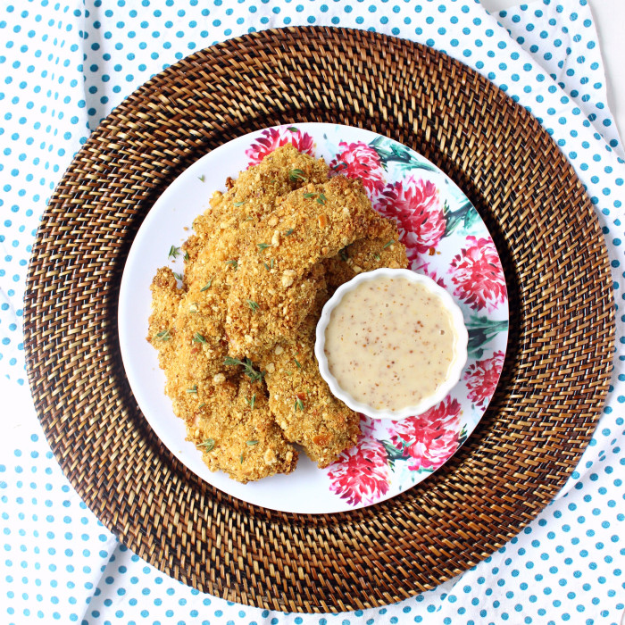 Three-Ingredient Pretzel Coated Honey Mustard Chicken Tenders