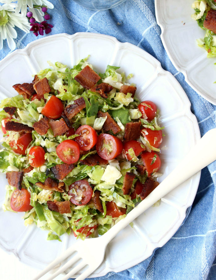 Dinner for Two: Brussels Sprouts, Bacon, & Tomato Salad (the BBT!)