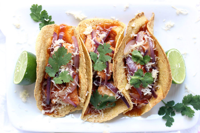 Honey BBQ Mahi Mahi Tacos w/ Red Onion & Crumbled Cheddar