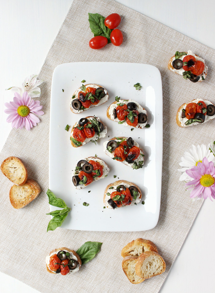 7-Ingredient Greek Crostini with Garlic Whipped Feta & Blistered Cherry Tomatoes