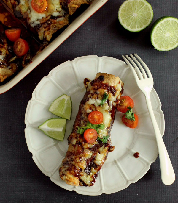 Lightened Up Honey BBQ Enchiladas