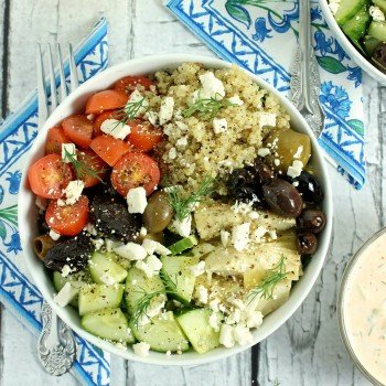 Loaded Greek-Style Quinoa Bowls with Chunky Feta & Spicy ...