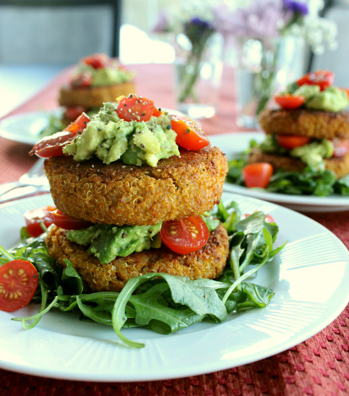 Crispy Quinoa, Sweet Potato, and Light Cheddar Patties with Cherry Tomatoes and Smashed Avocado