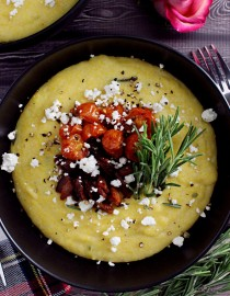 Maple-Rosemary Polenta w/ Thick Cut Applewood Smoked Bacon, Roasted Tomatoes, & Crumbled Goat Cheese