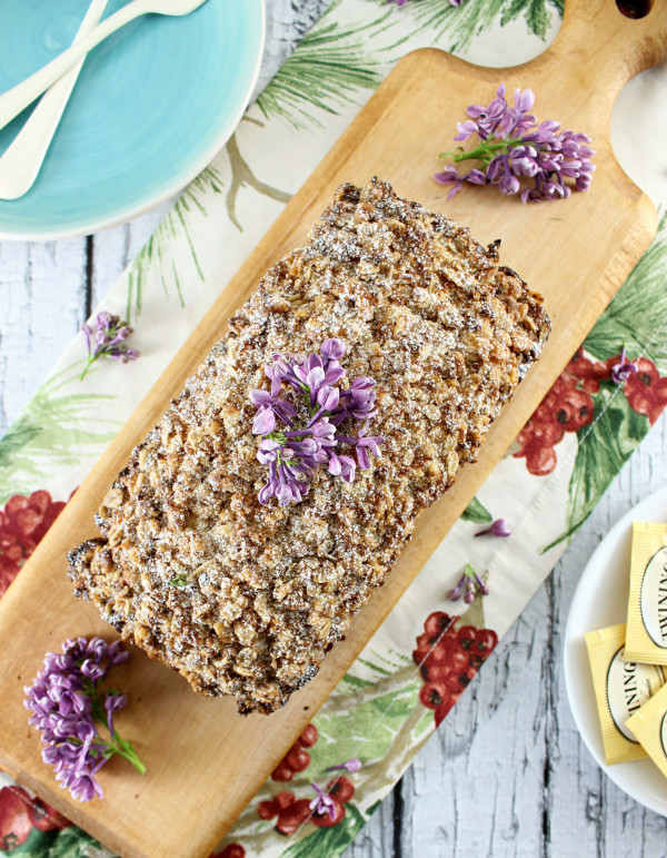 White Chocolate Lavender & Earl Grey Pound Cake w/ Coconut Walnut Crumble