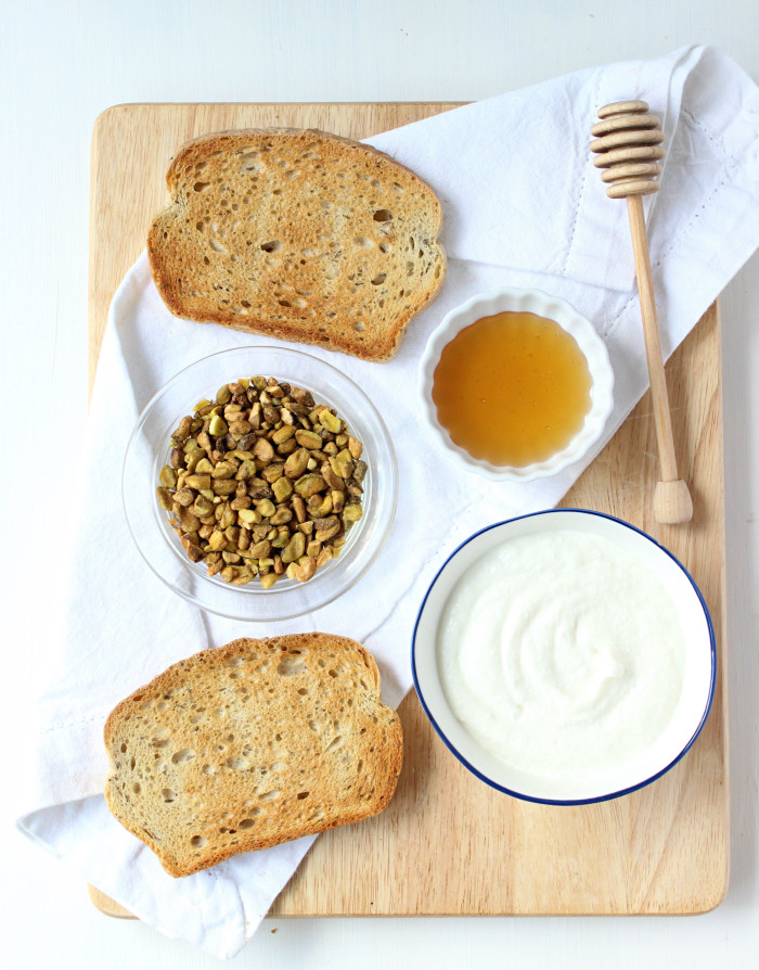 Whipped Ricotta & Crushed Pistachio Toasts with Drizzled Honey