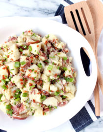 Roasted Garlic Potato Salad w/ Pancetta, Scallions, & Chive