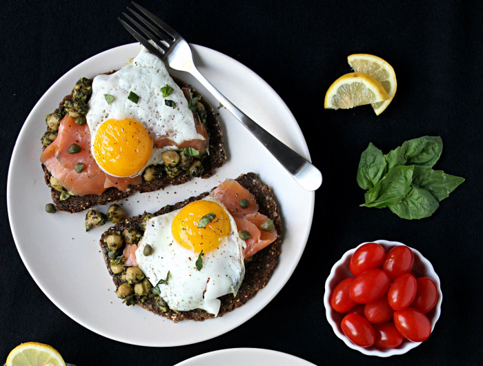 Slow-Cooked Pesto Chickpeas Over Toast w/ Smoked Salmon & Egg