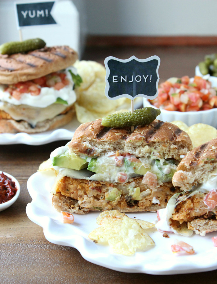 Southwestern White Bean Burgers w/ Avocado, Pepperjack, and Pico de Gallo