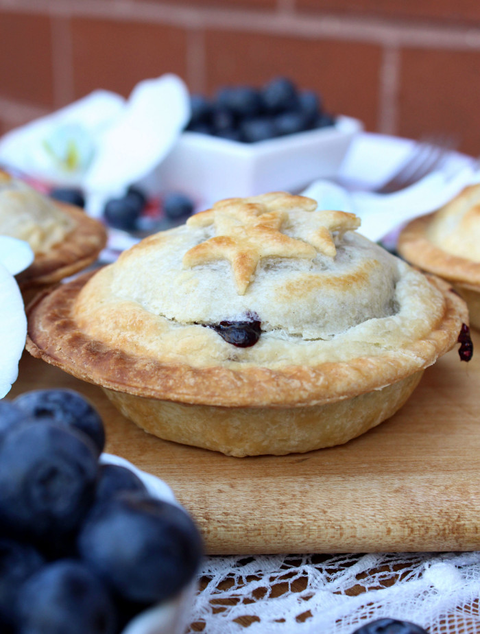 Vanilla Bourbon Blueberry Mini Pies