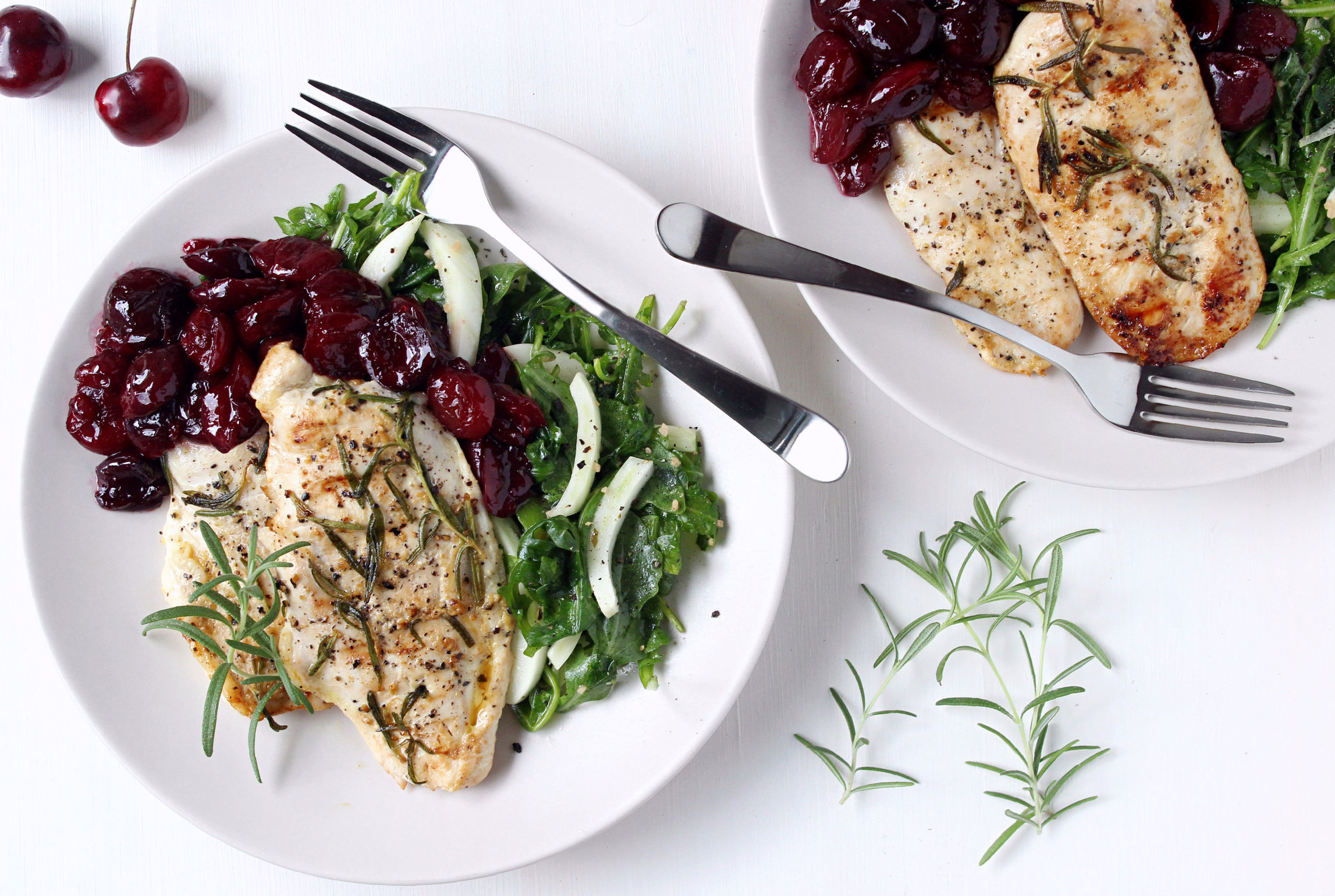 Grilled Rosemary Chicken w/ Quick Sautéed Cherries, Fennel, & Arugula ...