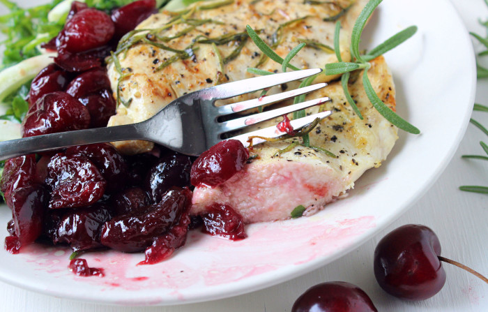 Grilled Rosemary Chicken w/ Quick Sautéed Cherries, Fennel, & Arugula