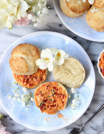 Pepper & Parmesan Biscuits w/ Sun-dried Tomato Whipped Mascarpone