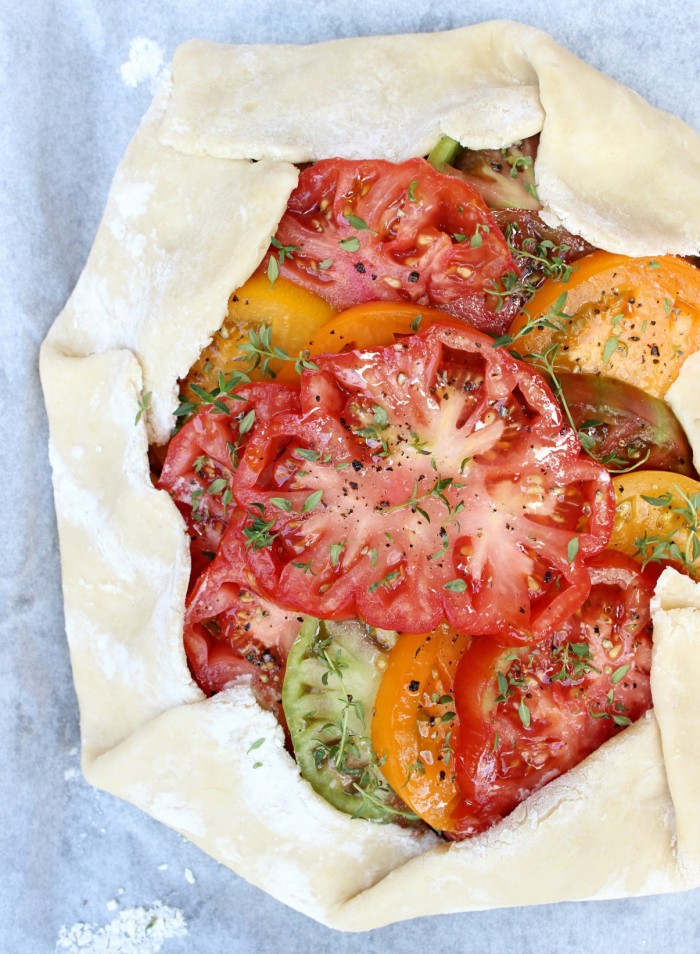 Heirloom Tomato Galette w/ Honeyed Goat Cheese, Caramelized Shallots, & Fresh Thyme