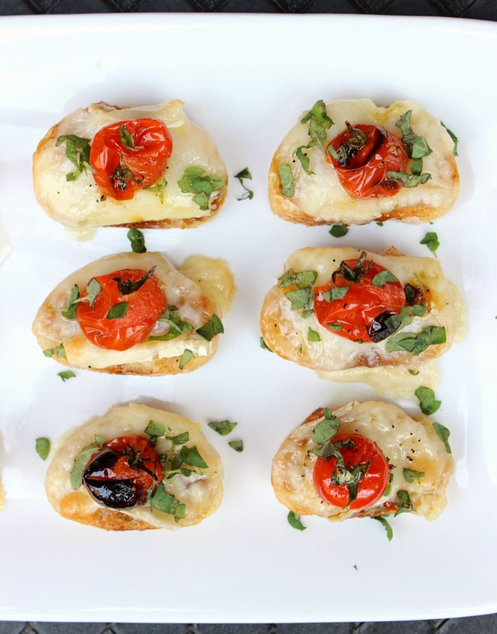10-Minute Blistered Tomato Crostini w/ Creamy Brie, Aged Manchego, & Sweet Fig Spread