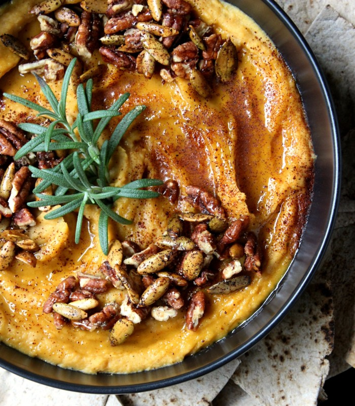 Silky Sweet Roasted Butternut Squash Hummus w/ Candied Pecans, Spicy Pepitas, & Honey (Vegan + Gluten Free!)