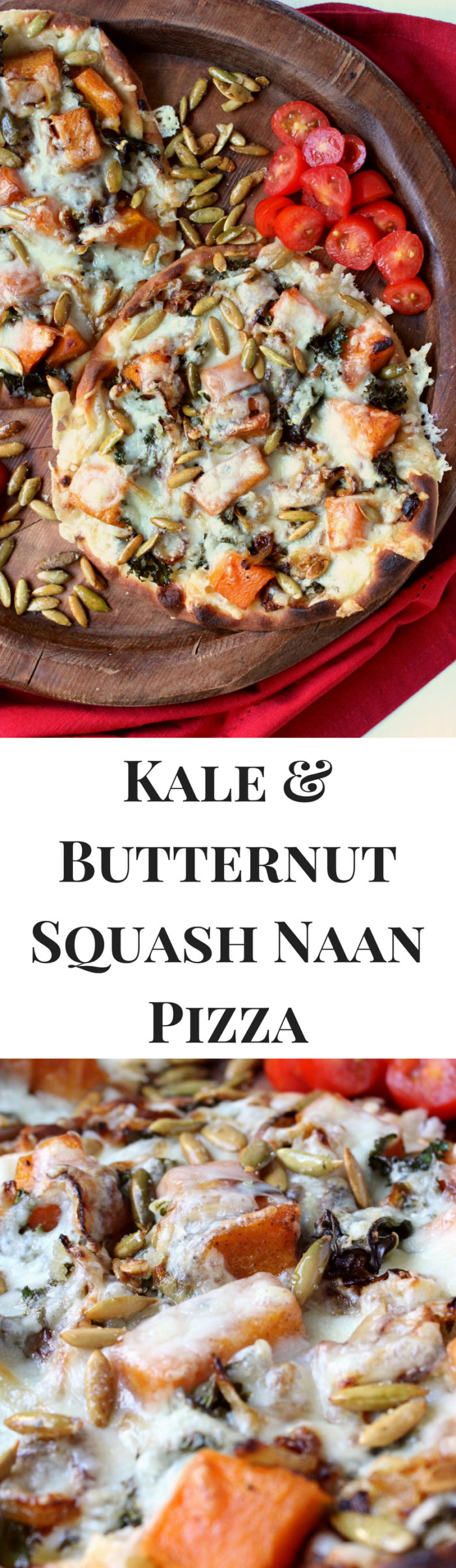 Kale & Butternut Squash Naan Pizzas w/ Cider Caramelized Onions, Aged Cheddar, & Sugared Pepitas - completely vegetarian, delicious, and perfect for fall!