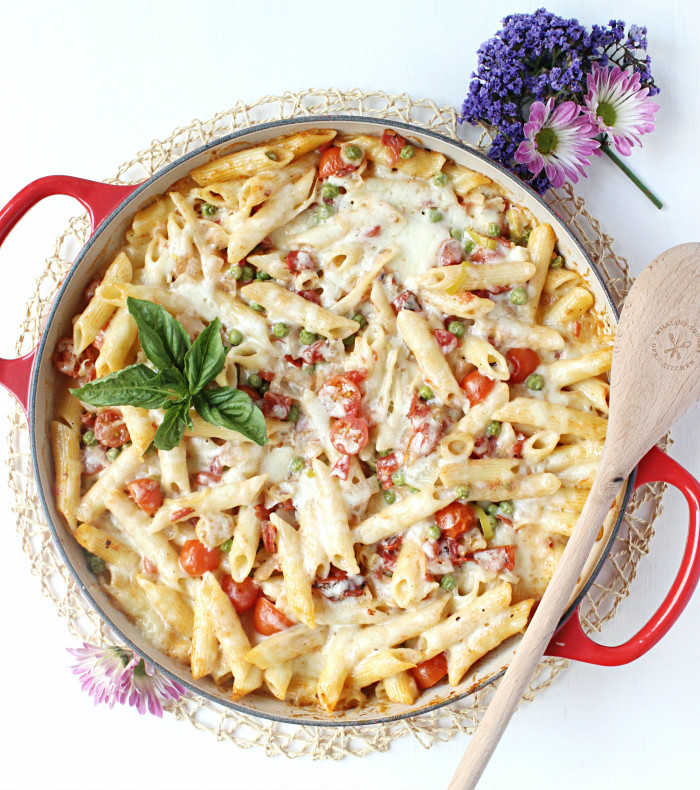 Make-Ahead Three Cheese Baked Ziti w/ Springtime Veggies
