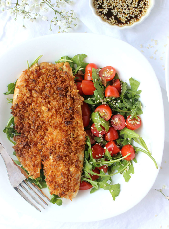 Dinner for Two: Fried Onion-Crusted Tilapia w/ Sesame Ginger Marinade