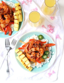 Sweet & Spicy Grilled Shrimp w/ Peppers, Jalapeño, & Caramelized Pineapple