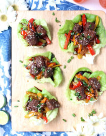 Dinner for Two: 20-Minute Korean Beef Lettuce Wraps w/ Rainbow Veggie Slaw