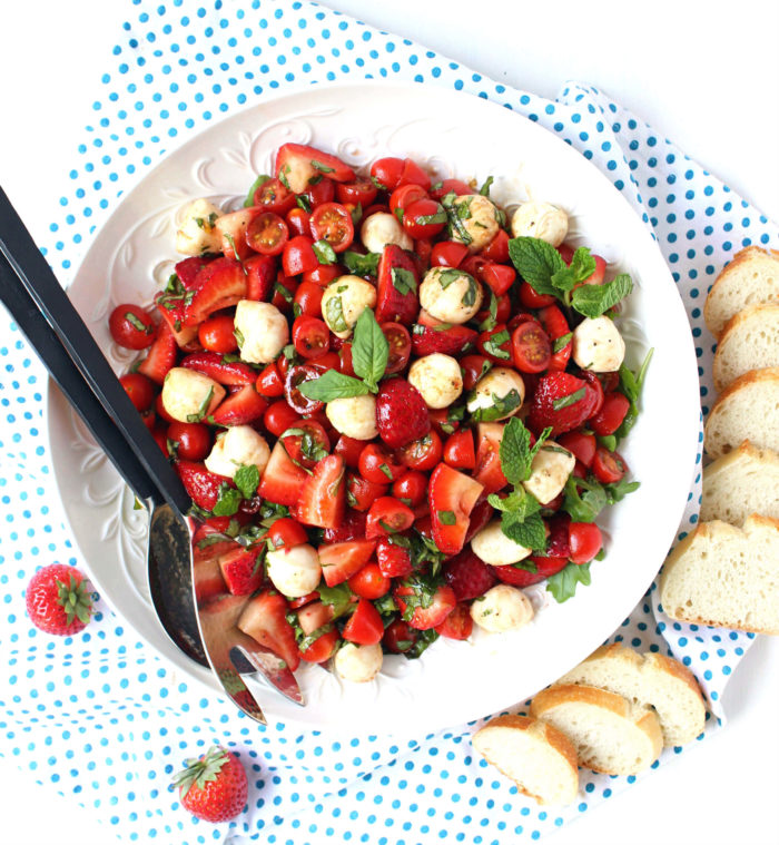 Easy Strawberry Caprese Salad w/ Brown Sugar Balsamic + Mint
