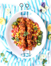 Dinner for Two: Chile Lime Rubbed Chicken Kebabs w/ Watermelon Mango Salsa
