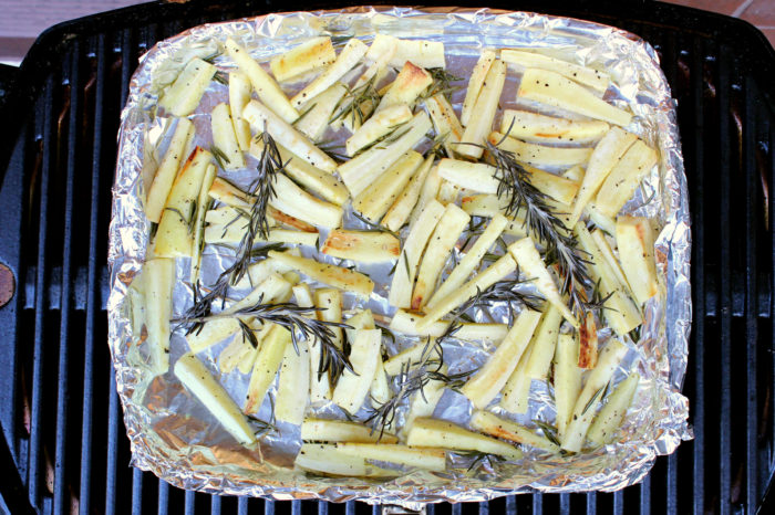 Grilled Rosemary Parsnip Fries w/ Easy Garlic Aioli