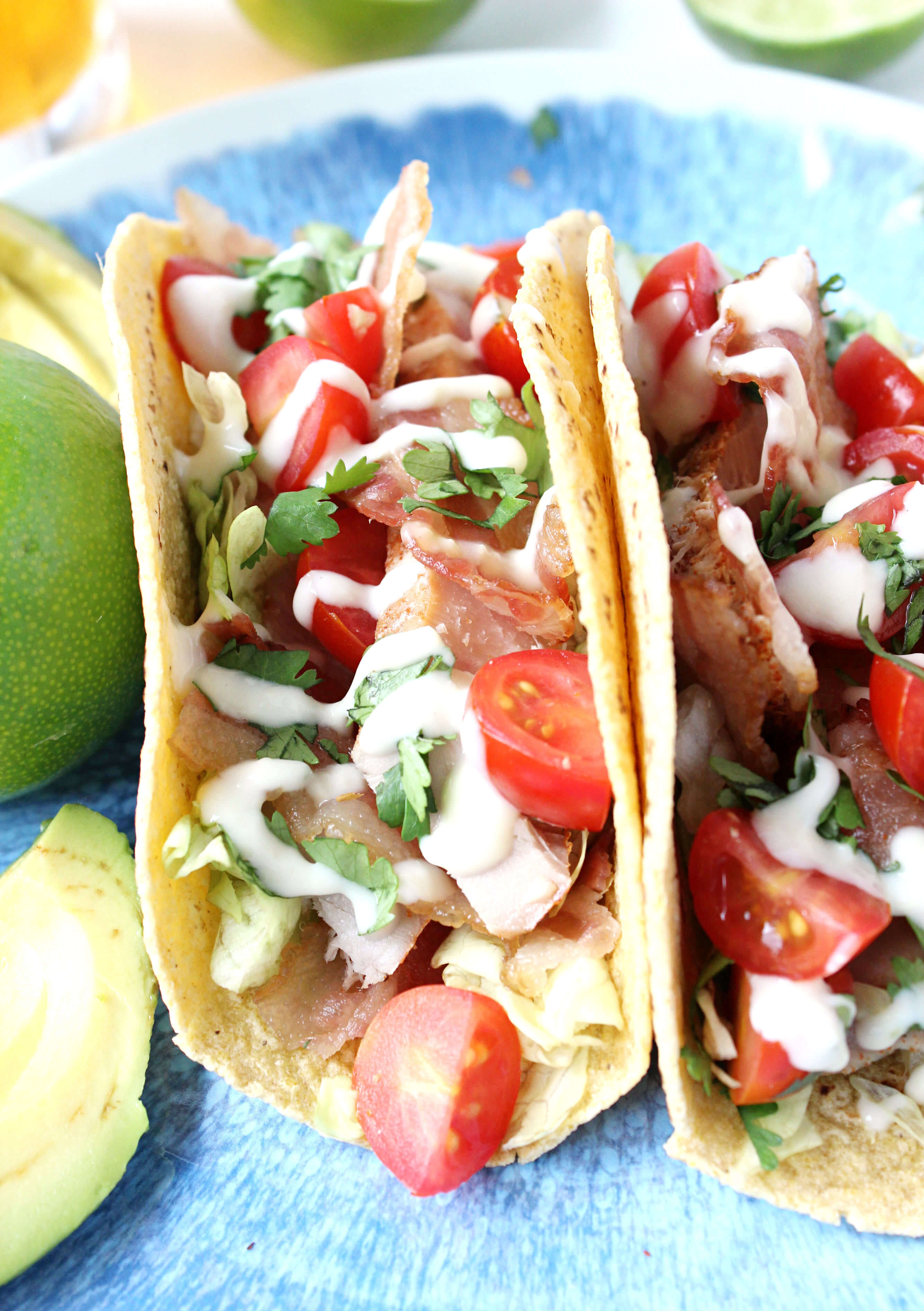 dinner for two blt tuna tacos w lime aioli drizzle wry toast