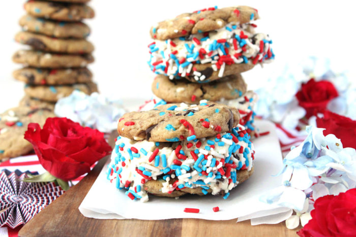 """Freedom Flag"" Chocolate Chunk Chipwiches w/ Homemade, No-Churn Ice Cream"