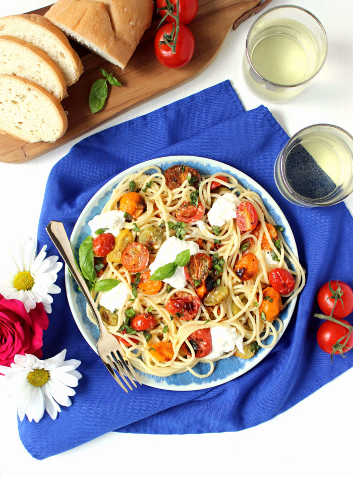 Dinner for Two: Garlic-Poached Heirloom Tomato Spaghetti w/ Basil & Burrata (20 Minutes!)