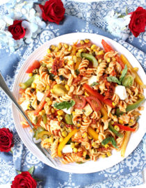 Easy Summer Harvest Pasta Salad w/ Sun-dried Tomato Purée & Smoked Mozzarella