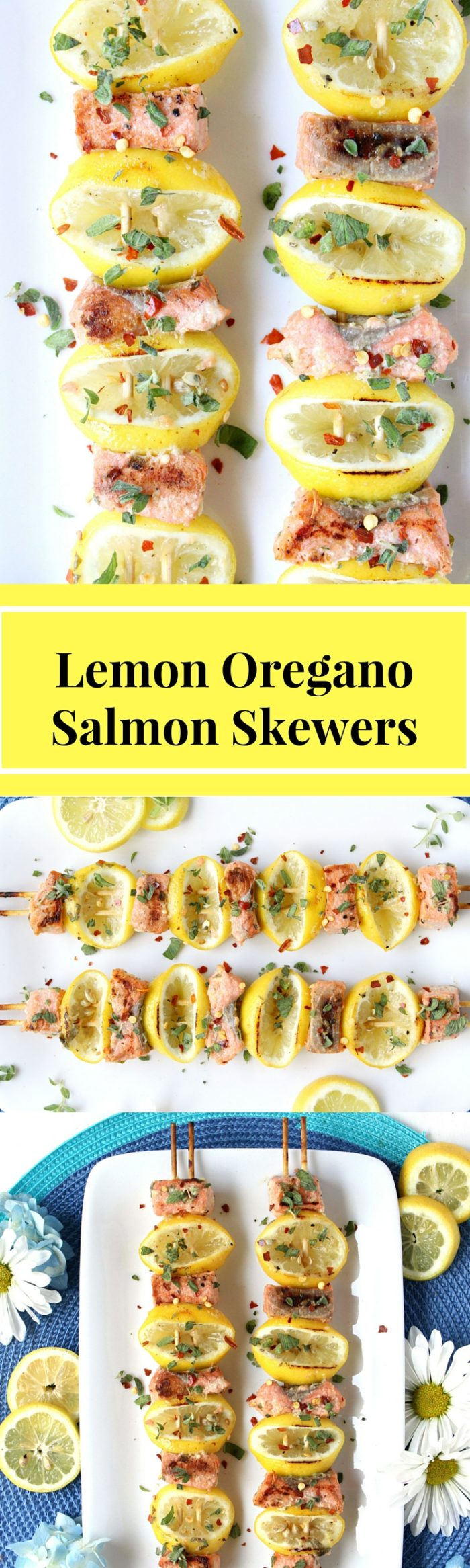 Lemon Oregano Salmon Skewers