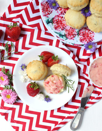 Buttery Rosemary Biscuits w/ Strawberry Honey Butter