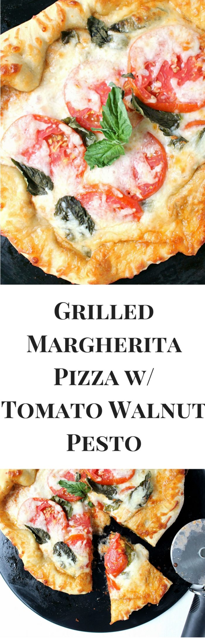 Grilled Margherita Pizza w/ Tomato Walnut Pesto