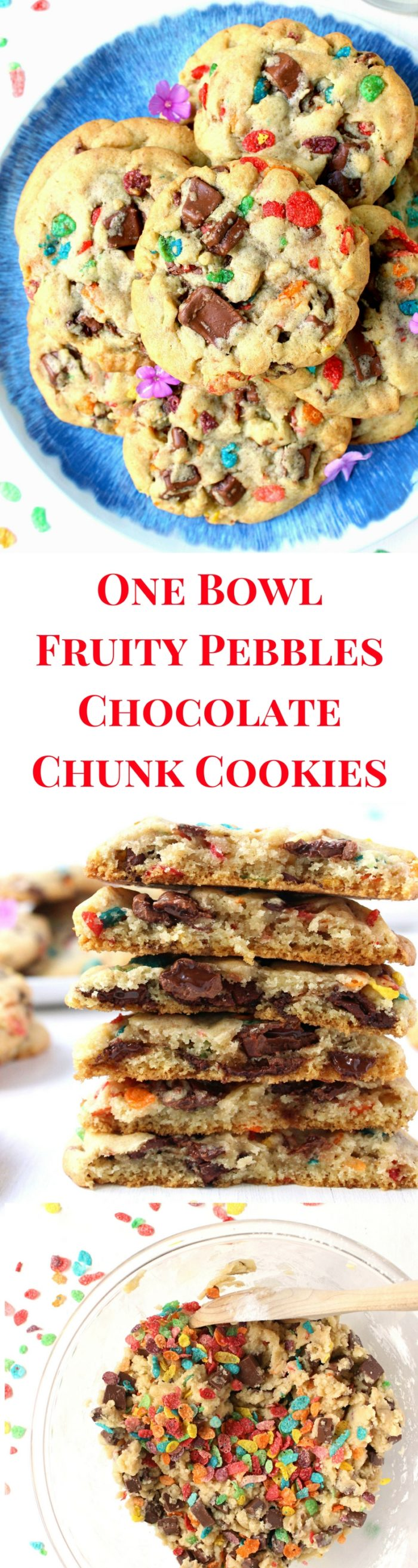 One Bowl Fruity Pebbles Chocolate Chunk Cookies - Wry Toast
