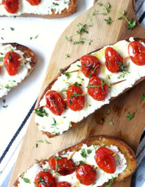 Thyme Tomato Skewers Over Grilled Ricotta Toast