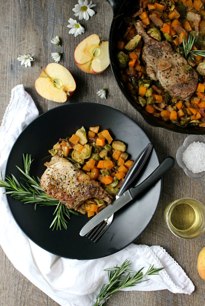 Easy Cider Braised Pork Chops w/ Bacon, Butternut, & Brussels Sprouts Hash