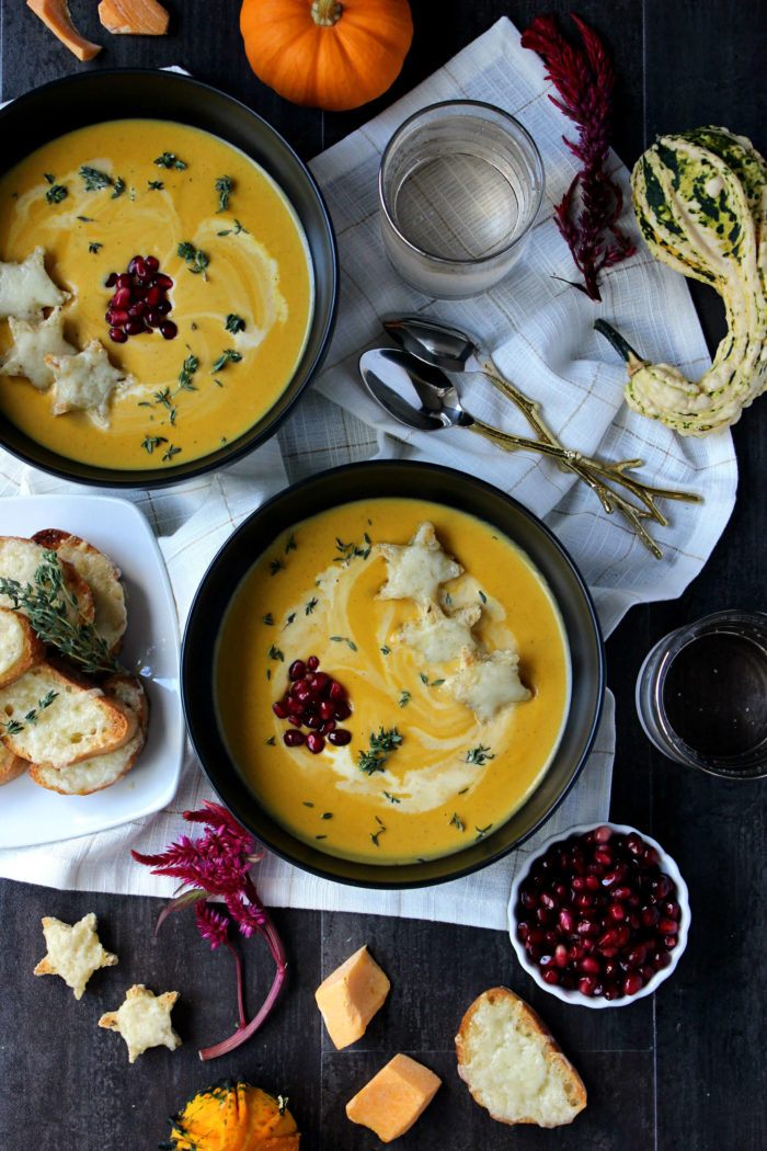 Dinner for Two: Creamy Butternut Squash Soup w/ Broiled Fontina Toasts (8 Ingredients!)