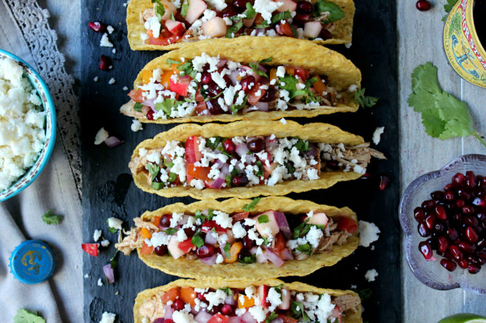 Smokey Cider Chicken Tacos w/ Quick Apple-Pomegranate Pico (30 Minutes!)