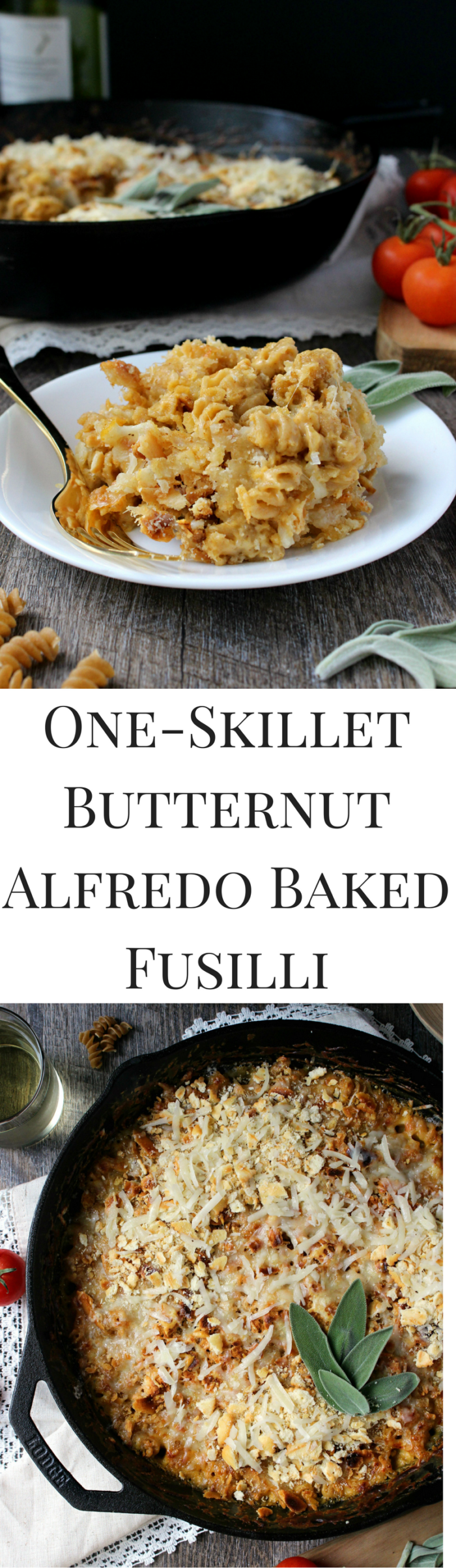 absolutely bursting with Fall flavor, this intensely cozy + comforting One Skillet Butternut Alfredo Baked Fusilli is the pasta dish you'll be relying on all season long -- completely vegetarian!