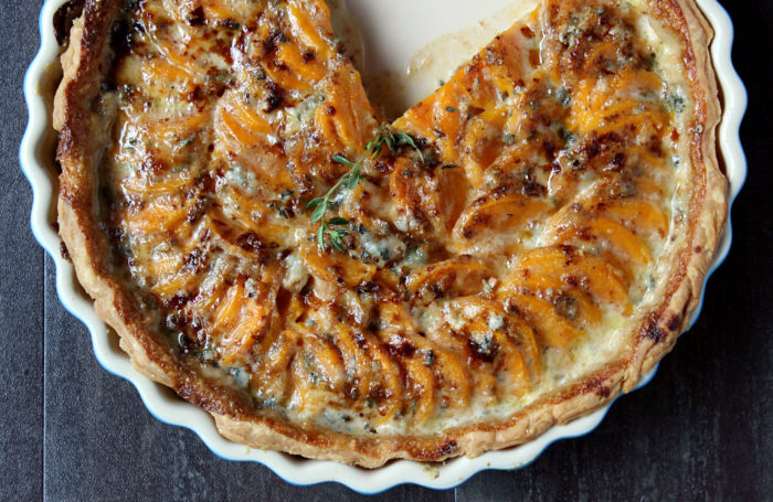 Scalloped Sweet Potato Pie w/ Gorgonzola & Drizzled Honey
