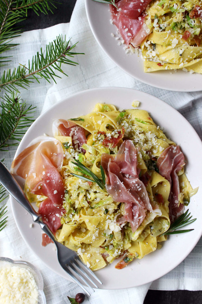 Dinner for Two: Shaved Brussels Sprouts & Prosciutto Pappardelle