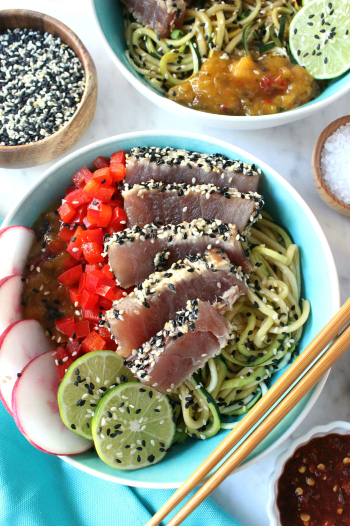 Sesame Crusted Tuna W Sweet N Spicy Zoodles For Two Wry Toast