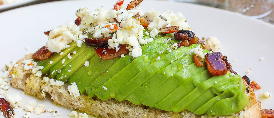 Herbed Feta Avocado Toast w/ Crumbled Bacon
