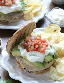 Southwestern White Bean Burgers w/ Avocado, Pepperjack, and Pico de Gallo